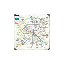 "Vintage Style Retro Map of Paris Metro Subway Steel Metal Sign 12"" x 12"""