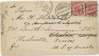 DEUTSCHES REICH 1894 Reichsadler 10 Pf (2x) selt. MeF a. umgeleitete Pra.-Bf USA