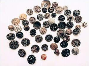Lot of FIFTY FIVE (55) Antique Victorian METAL SEWING BUTTONS