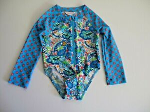 Tommy Bahama 4T Toddler Girl's 1 Pc Blue Green Long Sleeve Rash Guard Swimsuit