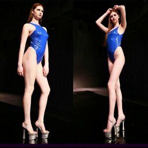 Lady Faux Latex Bodysuit Leotard Wet Look High Cut Bikini Swimsuit Lingerie YM0