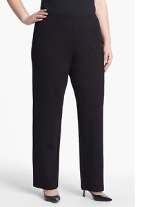 NWT Eileen Fisher Straight Leg in Black Viscose Stretch Ponte Pull-on Pant 3X