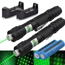 New listing 2Pc 50 Miles Star Green Laser Pointer Pen Portable 18650 Rechargeable Lazer Usa