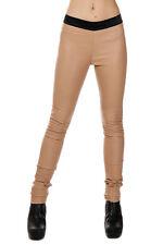 DROMe New Woman Beige Genuine Leather Stretch Leggings Trousers Pants Sz XS $831