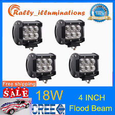 4X 4inch 18W Cree LED Work Light Bar Driving Lamp Flood Truck Offroad UTE 4WD RY