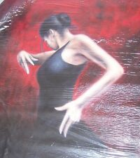 Flamenco BALLERINA DI SALSA TANGO 20x14 dipinto a olio non STAMPA/POSTER TELAIO DISP.