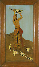 """American Indian Oil on Board Painting """"Conjuring Back the Buffalo"""""""