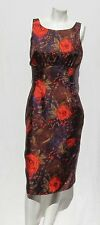 ERIN MAHONEY USA Purple Red Retro Floral Silk Sleeveless Evening Dress size XS 2