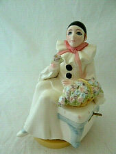 Schmid  Pierrot Love Clown Porcelain Music Box Figure Michel Oks Vintage 1981