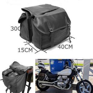 Large Capacity Black Motorcycle Bike Travel Saddle Bag Storage Pocket 40X15X30cm