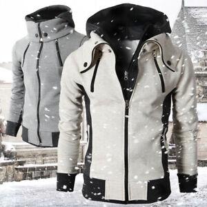 Mens Zip Up Thick Fleece Fur Lined Hoodie Winter Warm Ski Skate Coat Jacket UK