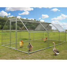 Large Metal Chicken Coop Flat Roofed Hen Run House with Cover 9.2' L x 18.4' W