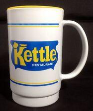 Kettle Restaurant Travel Beverage Mug with Lid Plastic White Blue Yellow