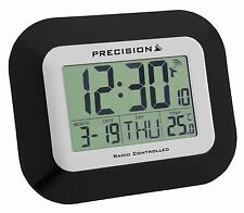 Precision Large LCD Radio Controlled Black Alarm Wall Clock Date Temperature