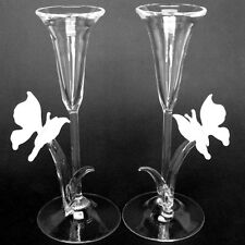 Butterfly Champagne Flutes Crystal Toasting Glasses