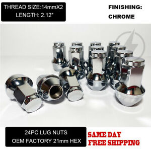 FIT FORD F-150 EXPEDITION OEM REPLACEMNT SOLID LUG NUTS 14X2 THREAD CHROME 24PCS