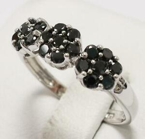 SYJEWELLERY NICE 14CT SOLID WHITE GOLD NATURAL ROUND BLACK DIAMOND RING SIZE N
