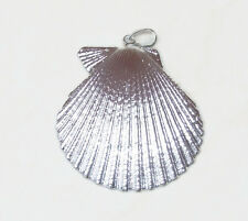 Large Seashell - Silver Plated - Natural Sea Shell Pendants - Scallop ClamShell