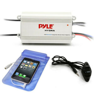 Pyle PLMRMB4CW Waterproof Bluetooth 800 W 4 Channel Marine Power Audio Amplifier