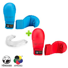 Set of Tokaido Red & Blue Karate Wkf Karate Competition Gloves w/ Mouthguard.