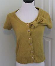J. Crew Wool Cashmere Button Cardigan Top Bow M Medium Mustard Short Sleeve