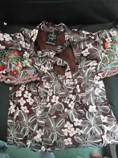 Rare Laura Lees Label Peplum Top BNWOT Strawberries embroidered Brown Satin Med