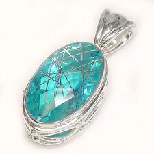 Offerings Sajen 925 Sterling Silver Rutilated Celestial Pariba Quartz Pendant