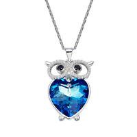 Halskette Eule Herz Anhänger Swarovski® Kristallen Silber Collier 18K Weißgold