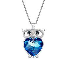 Halskette Eule Herz Anhänger Swarovski® Kristallen Silber Collier 18K Weißgold p