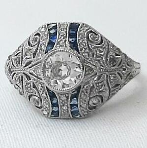 Handcarved Platinum .93ctw G-SI Diamond European Cut & Sapphire French Cut Ring