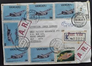 1992 Vanuatu Airmail Registd Cover ties 8 stamps cancelled Vila to Australia A.R