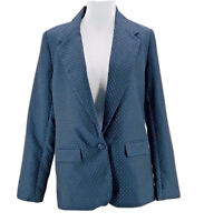 A New Day Women's Navy Gold Single Button Long Sleeve Blazer Jacket Size 4 NEW