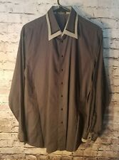 Gerlin Made in Italy Mens gray long sleeve cotton shirt Size 16/41 t21