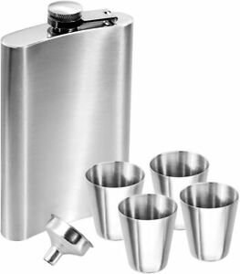 Anpro Stainless Steel 10 OZ Hip Flask Set and Funnel Set, Silvery, 285ml