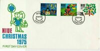 NIUE Island 1975 Christmas FDC Child Pic Child Drawings Stamps Cover Ref 29008