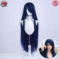 80 cm Long Straight Hair Wig Fashion Cosplay Costume Anime Synthetic Dark Blue