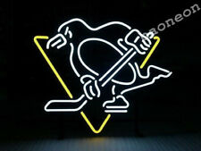 Nhl Pittsburgh Penguins Hockey Beer Bar Light Real Glass Neon Sign Free Shipping
