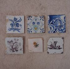 Antique Lot of 6 Delft Tiles Blue & White and Polychrome Flowers & Man with Horn