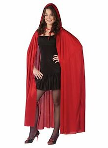"""68"""" Hooded Cape Cloak Vampire Devil Adult Costume Accessory, Red, One Size"""
