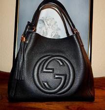 AUTHENTIC GUCCI SOHO MEDIUM SHOULDER BAG IN BLACK LEATHER