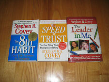 Stephen Covey Lot of 3 Books:  8th Habit, Speed of Trust, Leader In Me