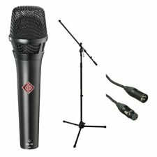 Neumann KMS 105 - Live Vocal Condenser Mic (Black) With XLR Cable and Mic Stand