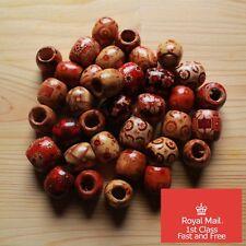 10x Assorted Natural Wooden Dreadlock Braid Beads Jewellery Hair Craft Wood