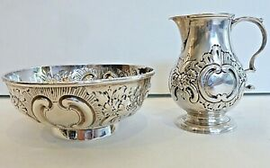 SWEET SMALL STERLING  PITCHER & BOWL, LONDON 1861, FLORAL & LEAF ROCOCO REPOUSSE