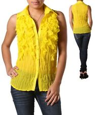 New! DRESS U by Sharon - Canary Yellow Crinkle Fringe Top / Blouse SIZE M - NWT!