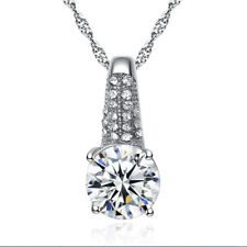 Shining 18K White Gold Plated Crystal Pendant Necklace N188