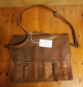 Brown Sharo Leather Bags Soft Beeswax Leather Laptop Messenger Bag New With Tags