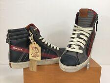 Diesel D-String Hi Top Fashion Sneaker Blue/Gray/Red Men's SZ US 8 EUR 40.5