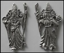 PEWTER CHARM #386 WIZARD huge (66mm x 33mm) Double Sided crystal cavity 1 hole