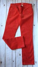 "J Crew Factory Corduroy Pants Women 29 8 R Matchstick Cord 33"" Inseam Orange"